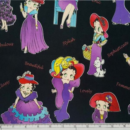 Designer Cotton Betty Boop Bettys Dress Up in Purple