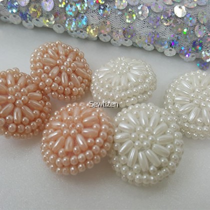 PEARL FLOWER BEADING COVER BUTTON
