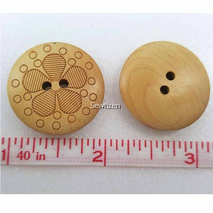 Outline Flower Wood Button