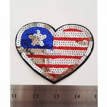American Flag - Sequin Embroidery Applique