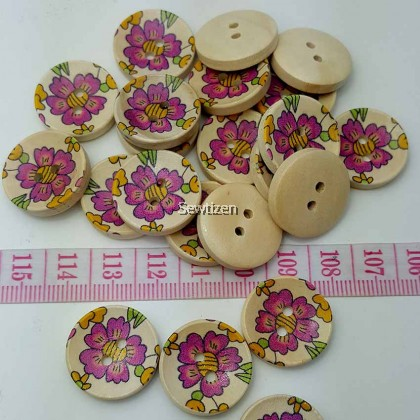Flower Natural Brown Wood Button 20mm (2 pieces)