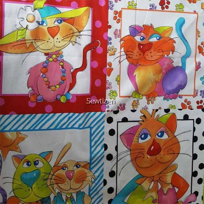 AMERICAN DESIGNER COTTON HAPPY CAT PANEL BY LORALIE HARRIS
