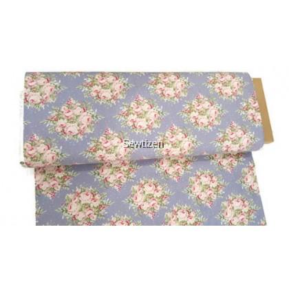 US Cotton Fabric Floral Design - Tilda Autumn Tree Slate Blue